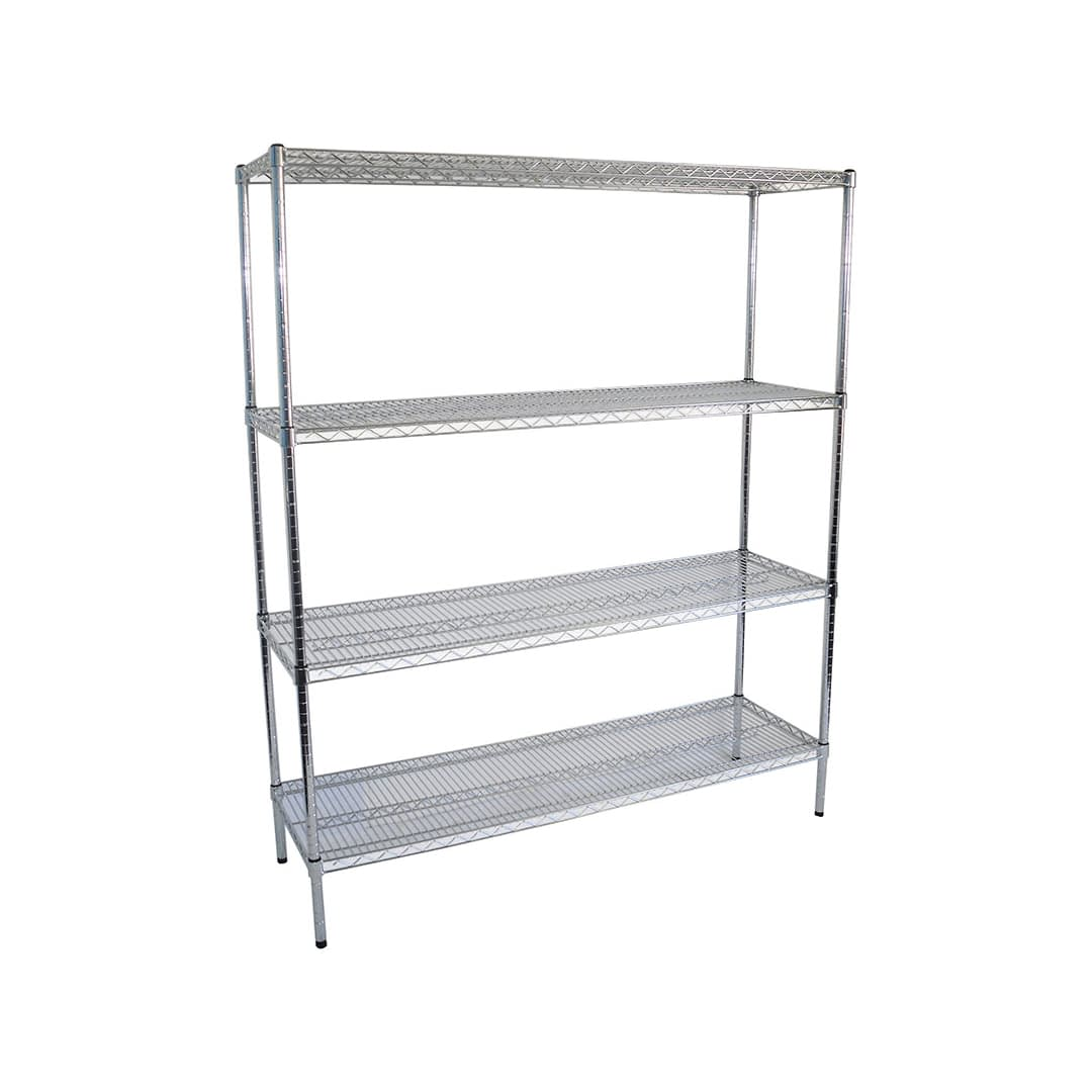 Chrome Wire Dry Store Shelving, 4 Tier, 1524 X 457 deep x 1800mm high