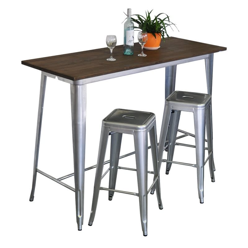 Replica Tolix Wooden Top Counter Table, 120 x 60 x 91cm high, Silver Legs