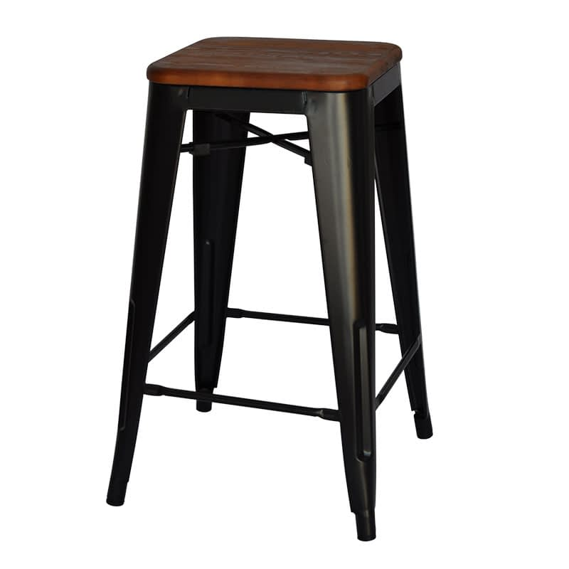 Replica Tolix Counter Stool with Timber Seat (Walnut Finish), 66cm – black