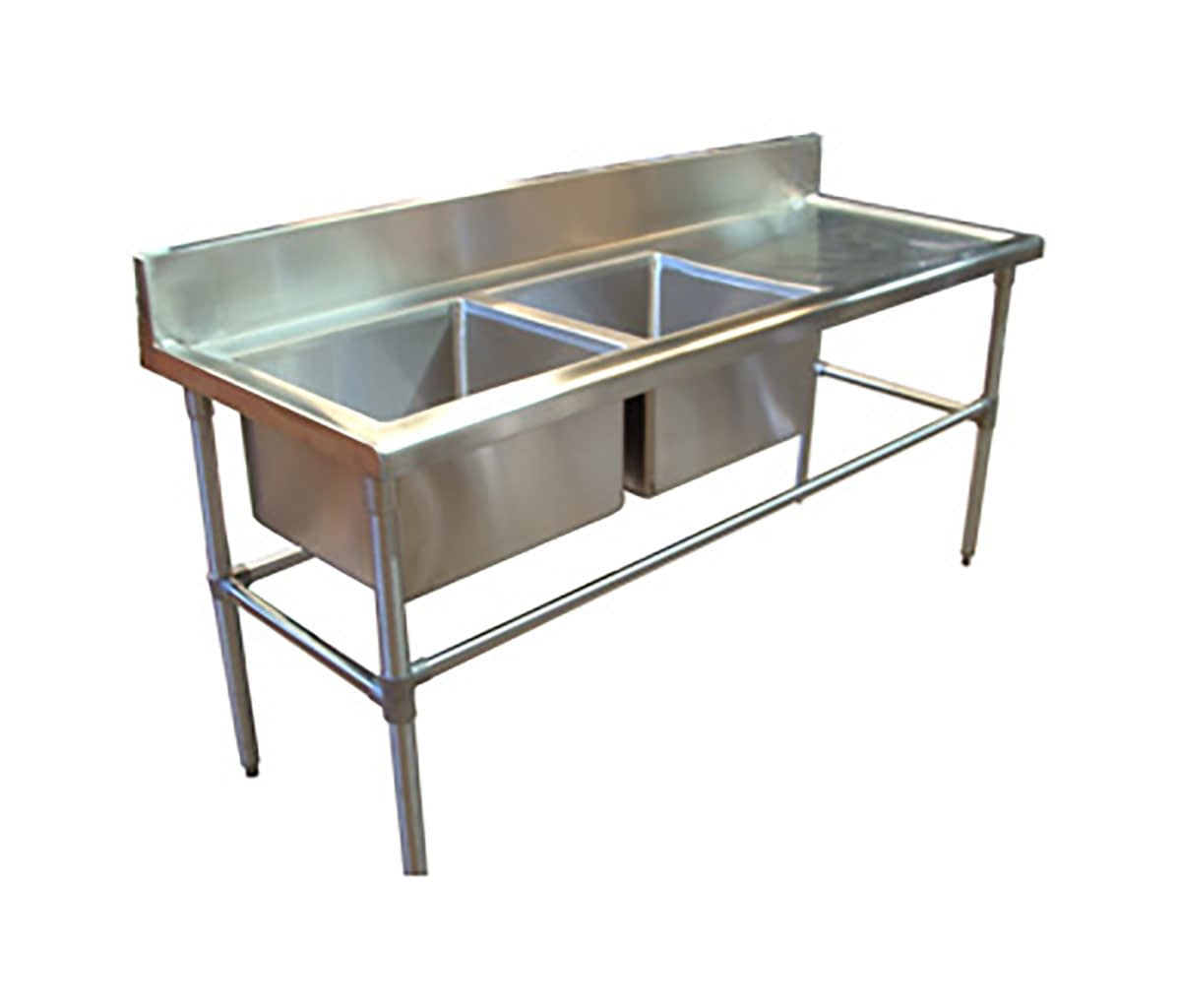 Double Bowl Stainless Sink – Right Bench, 1900 x 700 x 900mm high