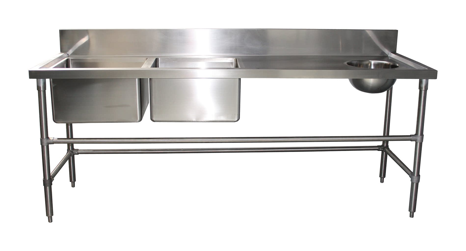 Double Bowl Stainless Kitchen Sink With Handbasin, 2200 x 700 x 900mm high