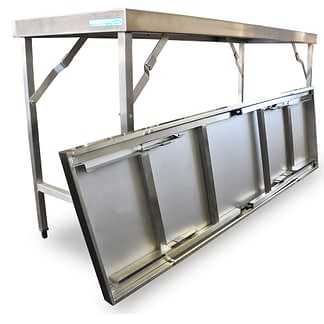 Folding Stainless Steel Benches, 1829 x 610 x 900mm high-0