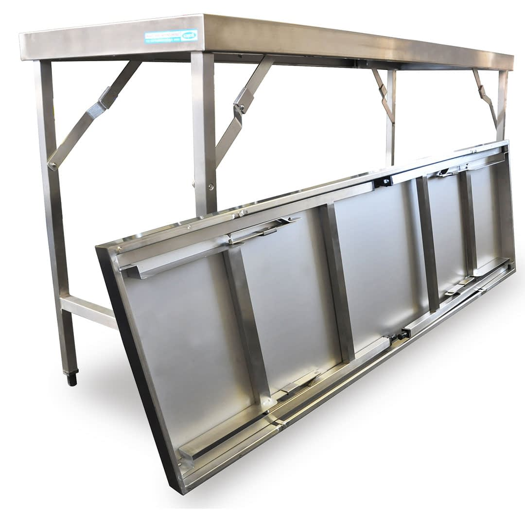 Folding Stainless Steel Bench, 1829 x 610 x 900mm high