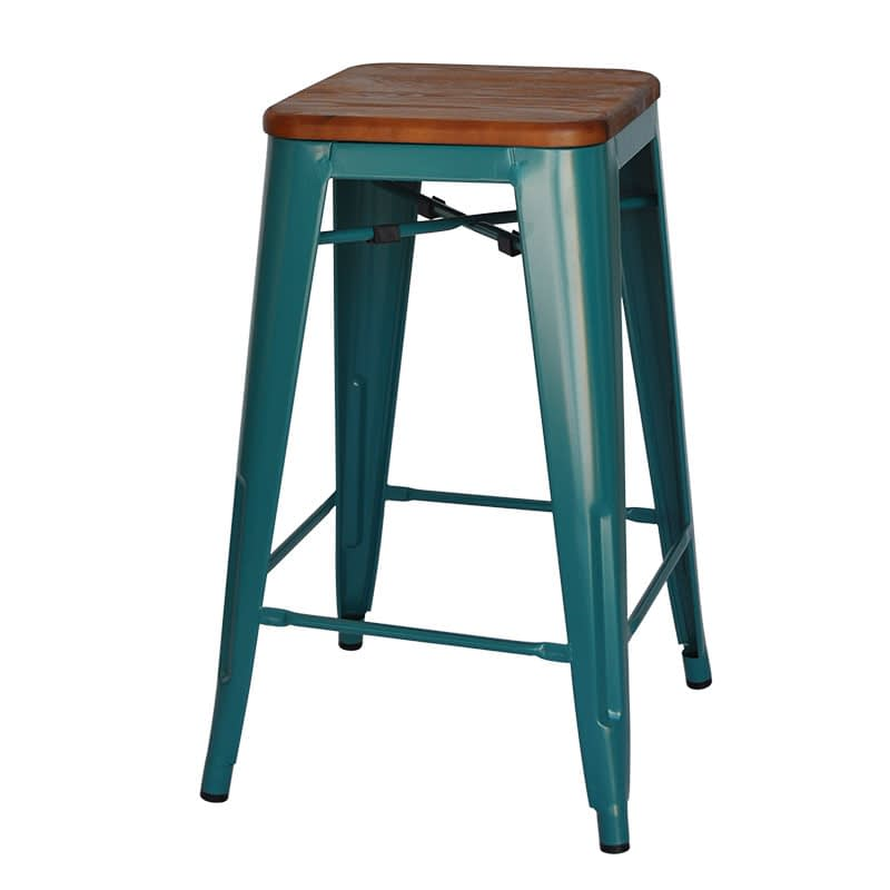 Replica Tolix Counter Stool with Timber Seat (Walnut Finish), 66cm – green