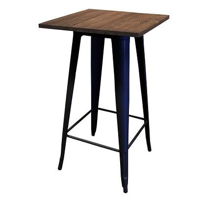 Replica Tolix Wooden Top Bar Table, 60 x 60 x 107cm, black legs