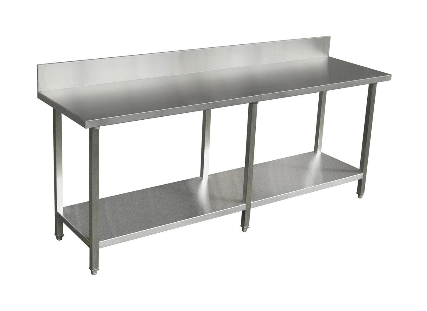 Commercial Grade Stainless Steel Splashback Bench, Premium Range 2200 X 610 X 900mm high