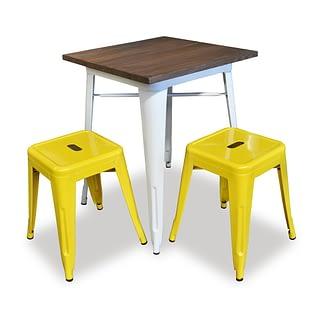 Replica Tolix Wooden Top Table, 60 x 60 x 75cm high, White Legs.