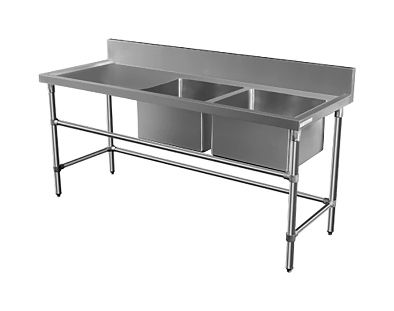 Double Bowl Stainless Restaurant Sink – Left Bench, 1900 x 700 x 900mm high