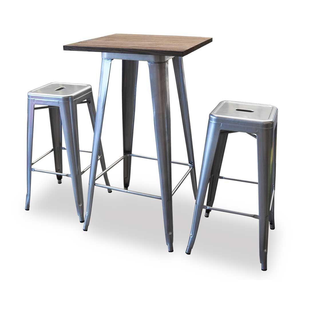 Replica Tolix Wooden Top Counter Table, 60 x 60 x 91cm, Silver Legs