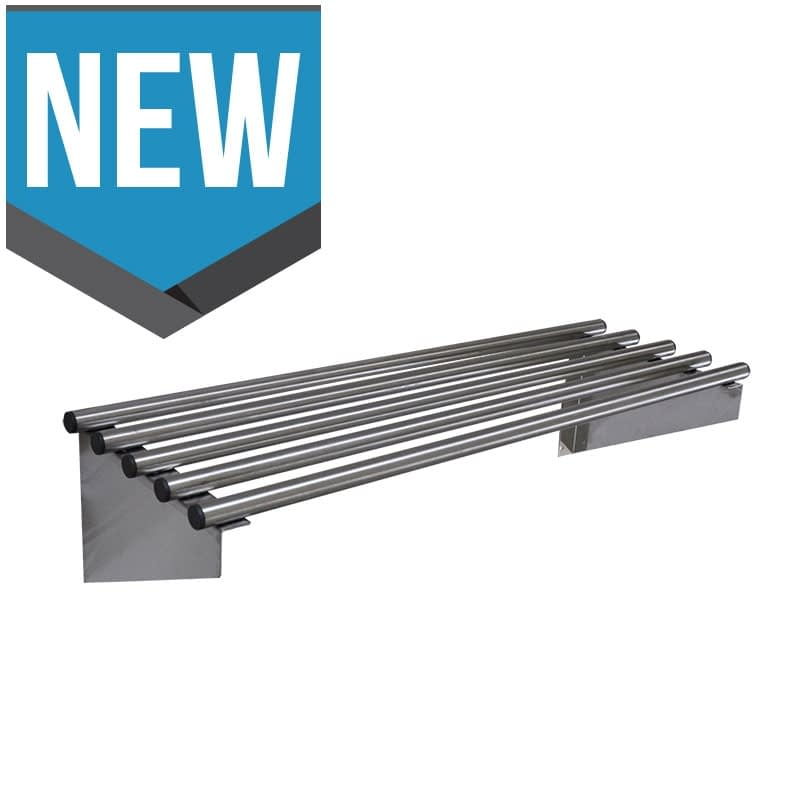 Stainless Steel Commercial Kitchen Pipe Wall Shelves, 900 X 450mm deep-0