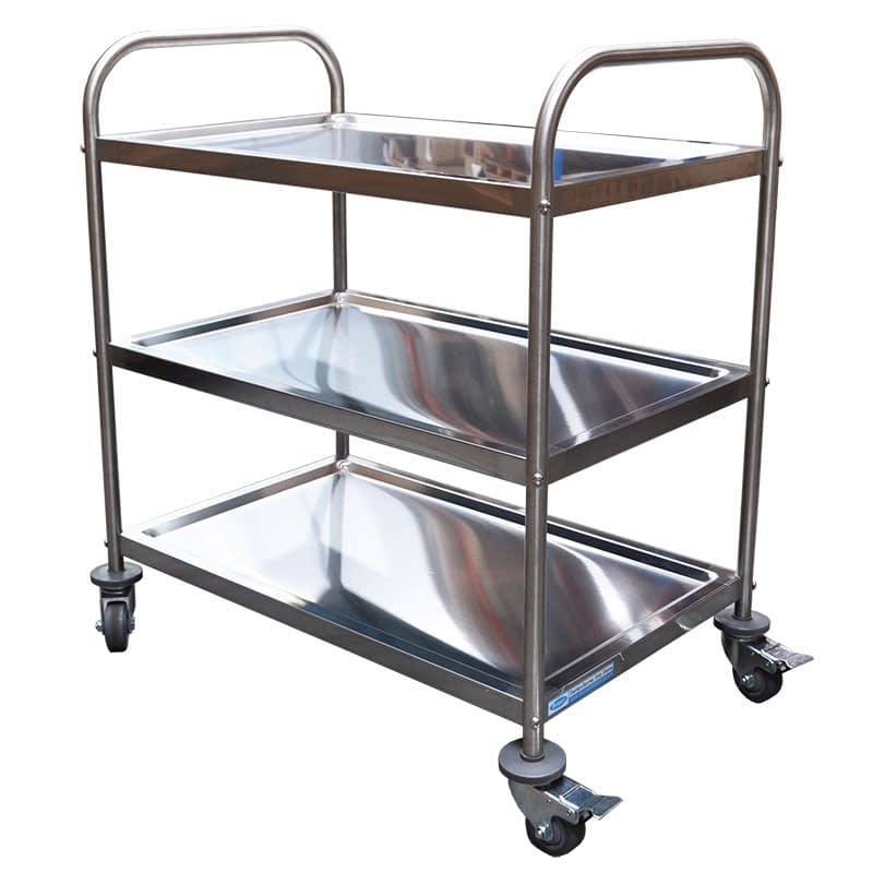 Stainless Steel Trolley, 3-Tier With Castors, 825 X 530 x 800mm high