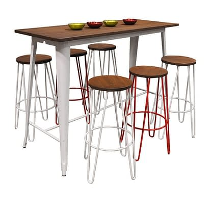 Replica Tolix Wooden Top Table, 152 x 60 x 107cm high, White Legs.
