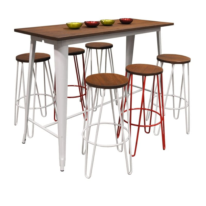 Replica Tolix Wooden Top Counter Table, 120 x 60 x 91cm high, White Legs