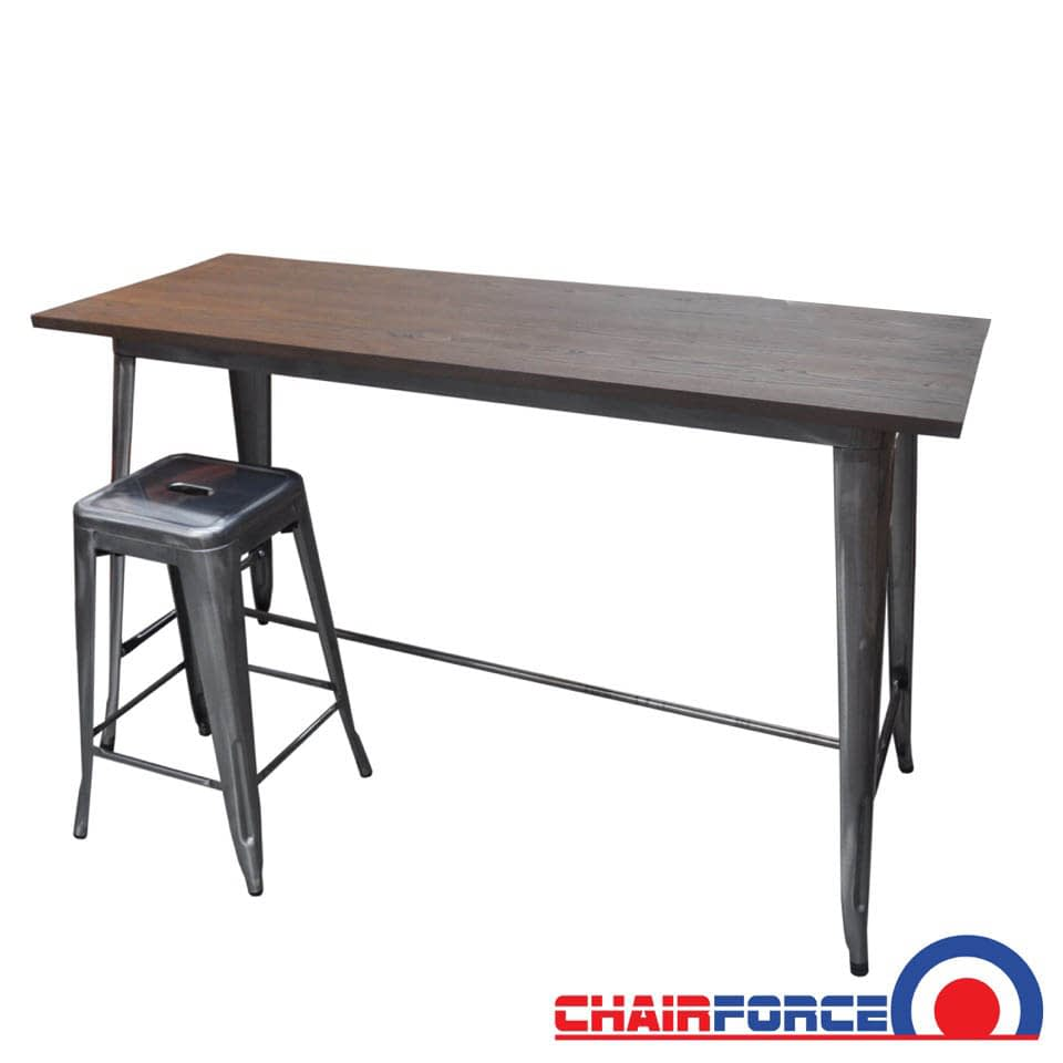 Replica Tolix Wooden Top Counter Height Table, 152 x 60 x 91cm high, Raw Steel Legs
