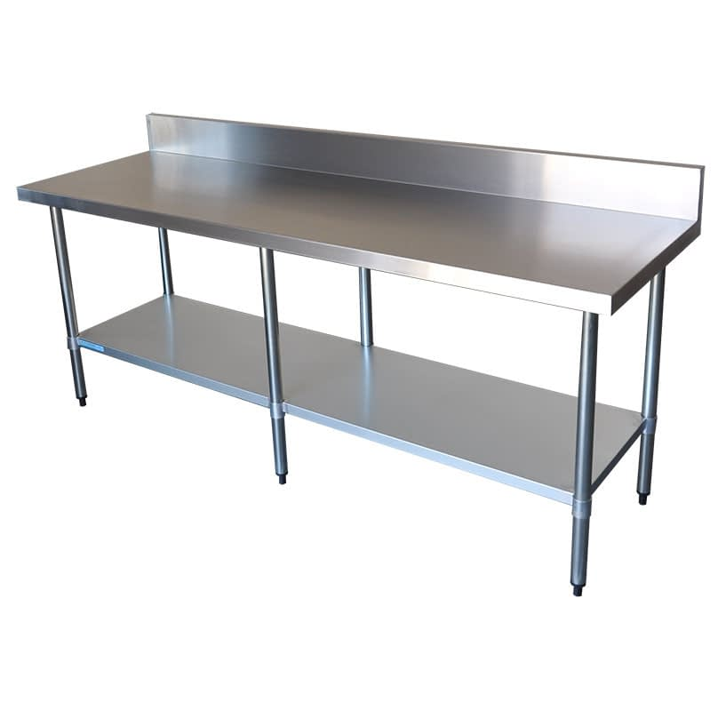 Commercial Grade Stainless Steel Splashback Bench, 2200 X 700 x 900mm high