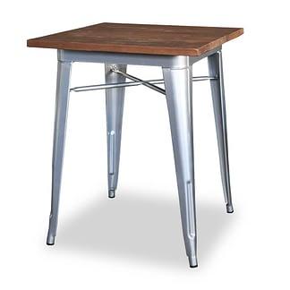Replica Tolix Wooden Top Table, 70 x 70 x 75cm high, Silver Legs.