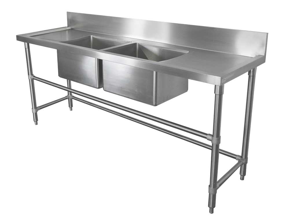 Stainless Double Bowl Restaurant Sink – Right and Left Bench, 2000 x 610 x 900mm high