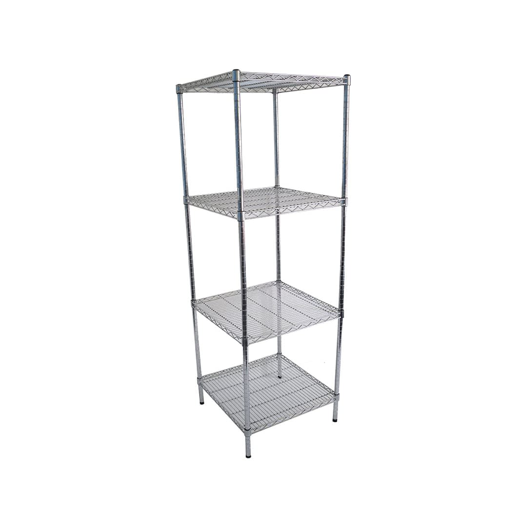 Chrome Wire Dry Store Shelving, 4 Tier, 610 X 610 deep x 1800mm high