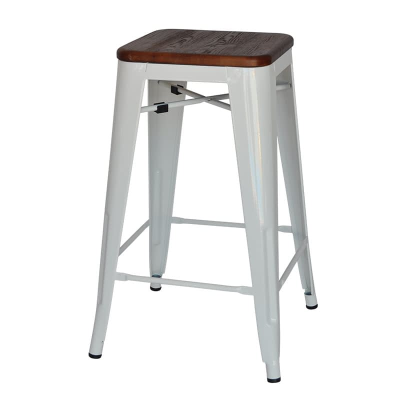 Replica Tolix Counter Stool with Timber Seat (Walnut Finish), 66cm – white