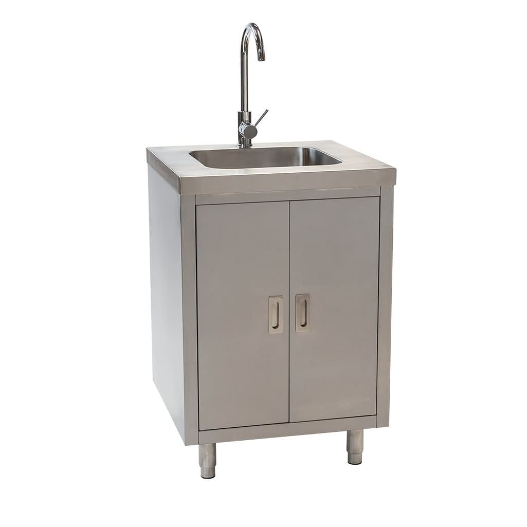 Stainless Steel Cabinet with fully integrated sink, 610 x 610 x 900mm high
