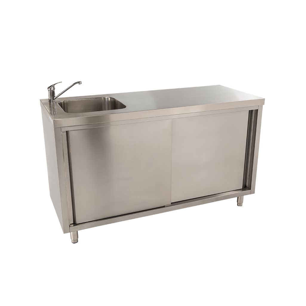 Stainless Steel Cabinet with fully integrated sink on Left. 1500 x 610 x 900mm high