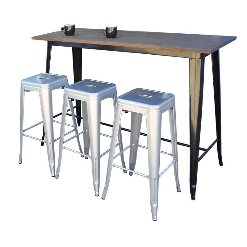 Replica Tolix Wooden Top Counter Table, 120 x 60 x 91cm high, Black Legs