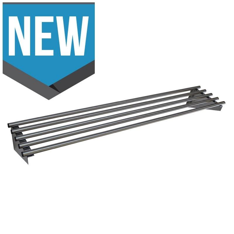 Stainless Steel Restaurant Pipe Wall Shelves, 1500 X 450mm deep-0