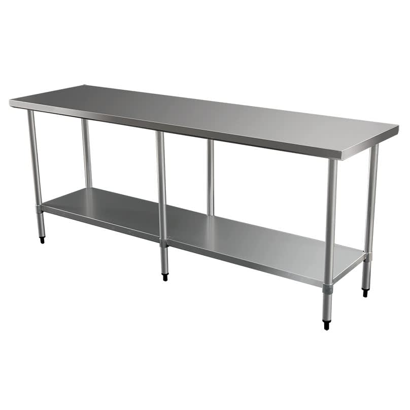 Commercial Grade Stainless Steel Flat Bench, 2134 x 610 x 900mm high