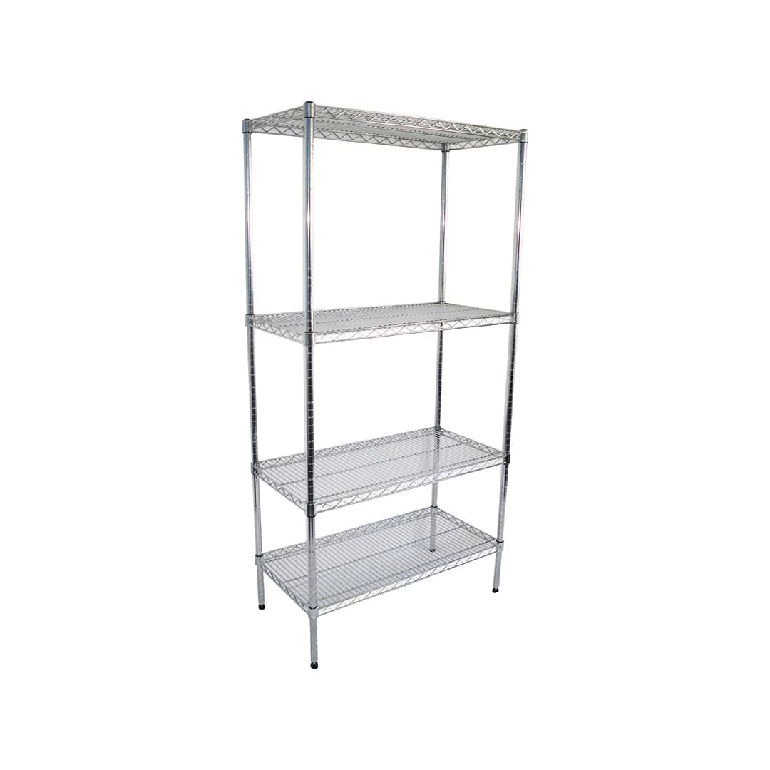 Chrome Wire Shelving for Dry Store, 4 Tier, 914 X 457 deep x 1800mm high-0