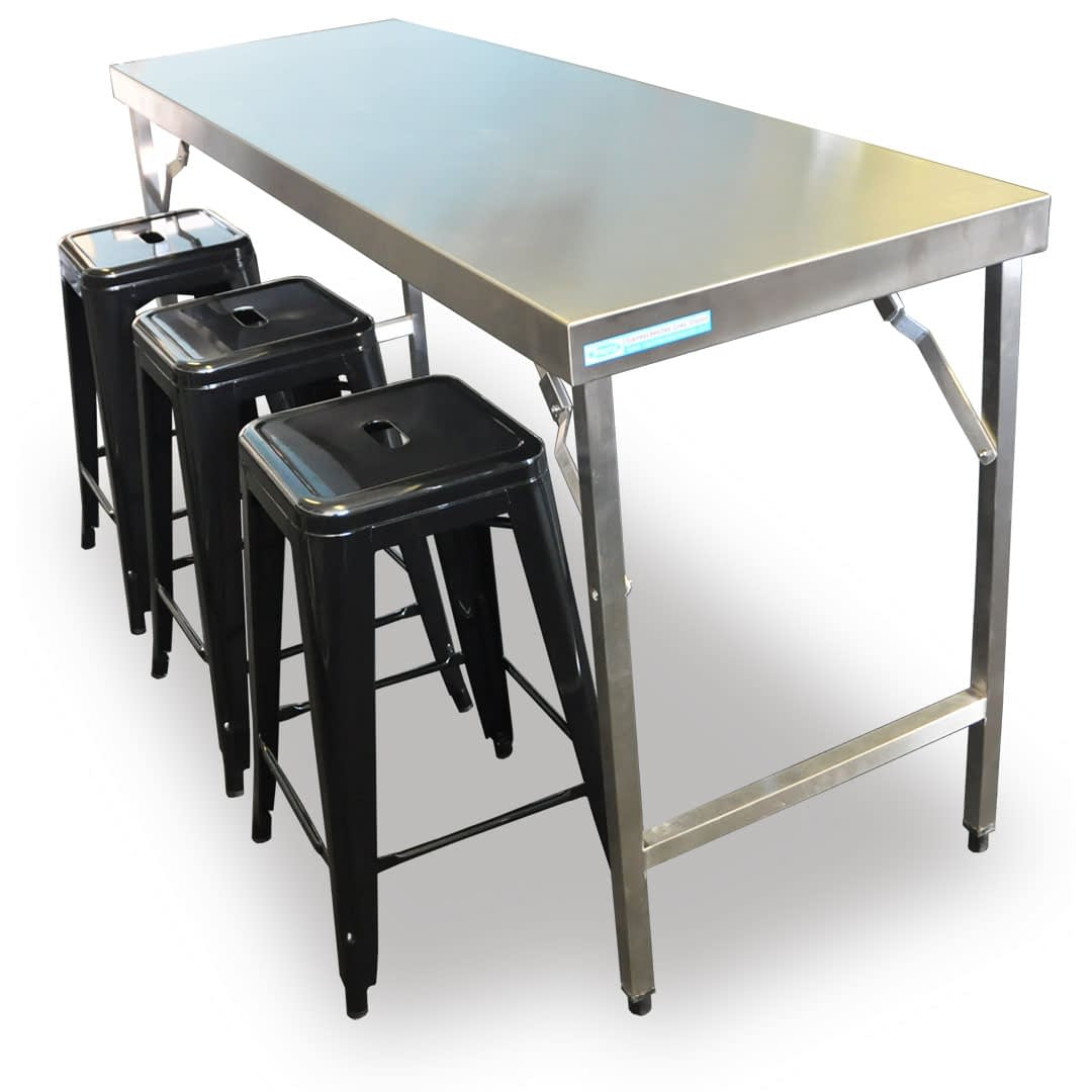 Folding Stainless Steel Catering Bench, 1524 x 610 x 900mm high-0