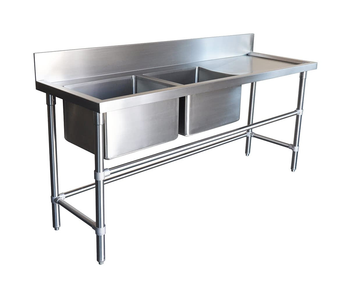 Double Bowl Stainless Sinks – Right Bench, 1900 x 610 x 900mm high