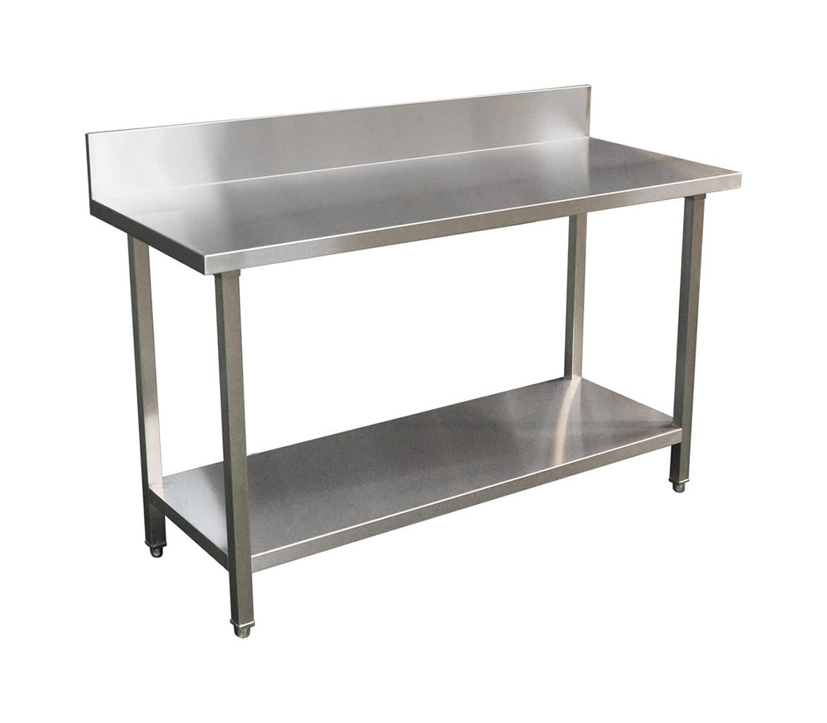 Commercial Grade Stainless Steel Splashback Bench, Premium Range 1500 X 610 X 900mm high