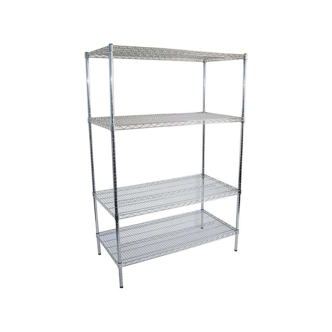 Chrome Dry Store Shelves 4 Tier, 1219 X 610 deep x 1800mm high