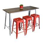 Replica Tolix Wooden Top Table, 152 x 60 x 91cm high, Silver Legs.