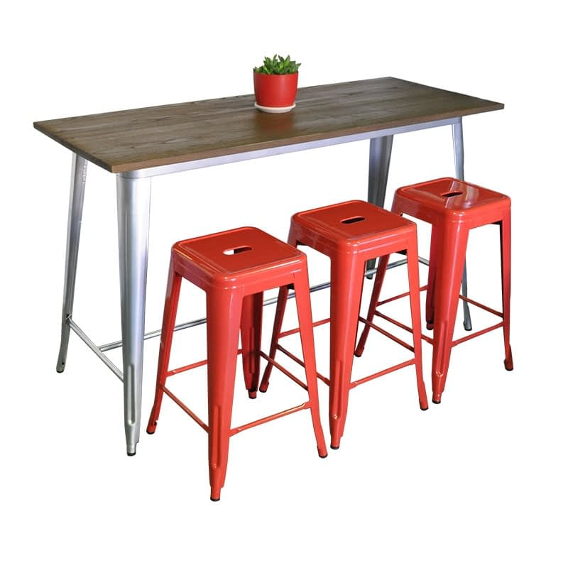 Replica Tolix Wooden Top Counter Height Table, 152 x 60 x 91cm high, Silver Legs.