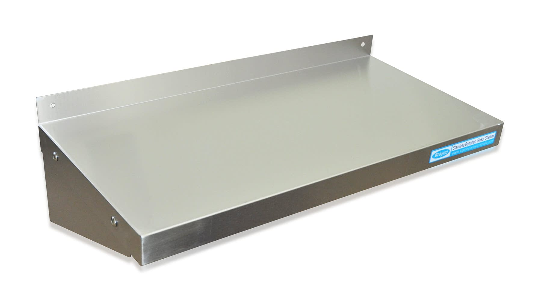 Stainless Steel Solid Wall Shelf, 600 X 300mm deep