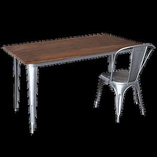 Replica Tolix Wooden Top Table, 140 x 80 x 75cm high, Silver Legs.