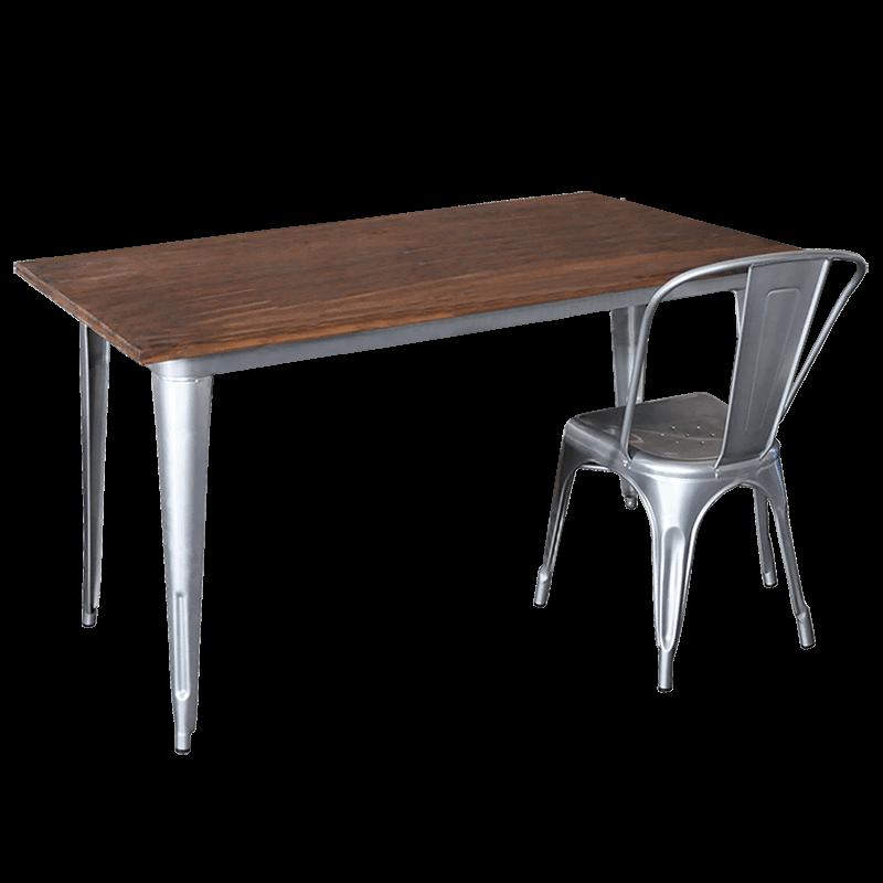 Replica Tolix Wooden Top Table, 140 x 70 x 75cm high, Silver Legs.