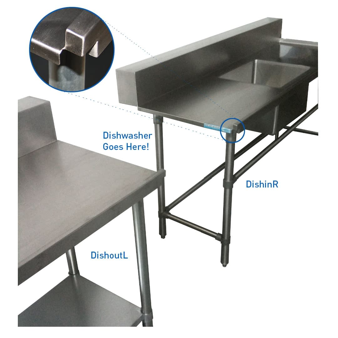 Stainless Dishwasher Inlet Bench, Right Configuration. 1800 x 700 x 900mm high
