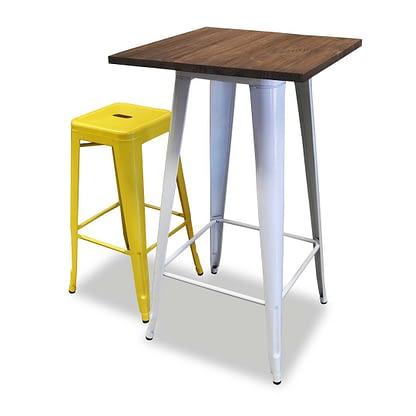 Replica Tolix Wooden Top Bar Table, 60 x 60 x 107cm, White Legs,