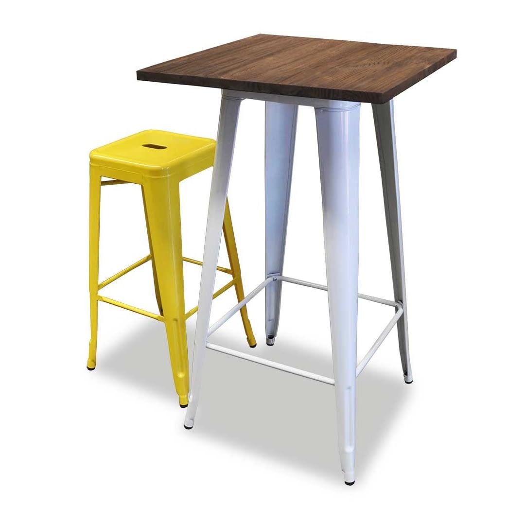 Replica Tolix Wooden Top Counter Table, 60 x 60 x 91cm, White Legs