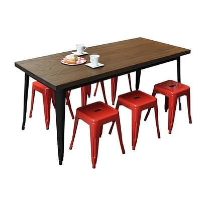 Replica Tolix Wooden Top Table, 180 x 80 x 75cm high, Black Legs.