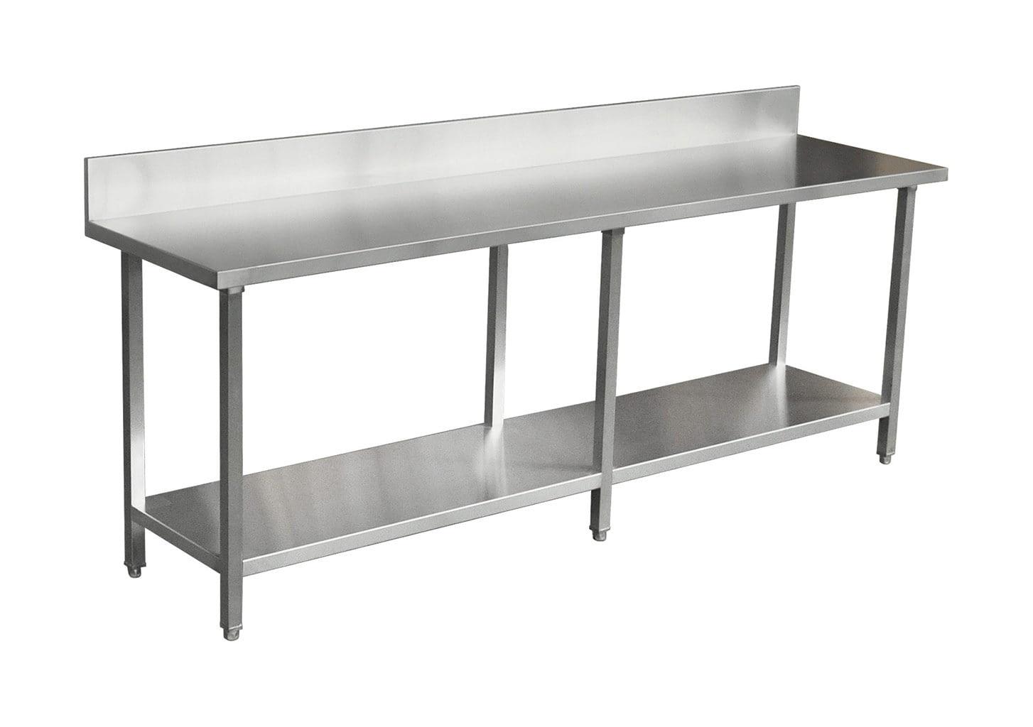 Commercial Grade Stainless Steel Splashback Bench, Premium Range 2400 X 610 X 900mm high