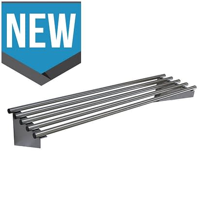Stainless Commercial Kitchen Pipe Wall Shelf, 1200 X 450mm deep-0