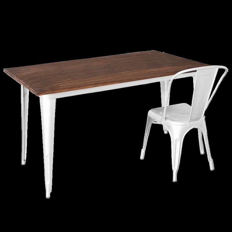 Replica Tolix Wooden Top Table, 140 x 80 x 75cm high, White Legs.
