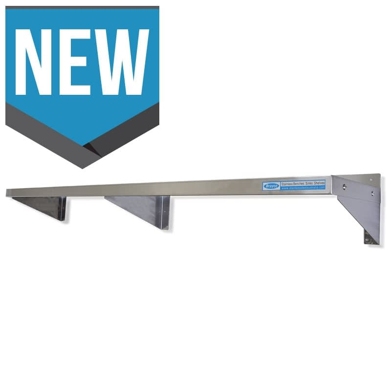 Stainless Steel Solid Wall Shelf, 2000 X 300mm deep