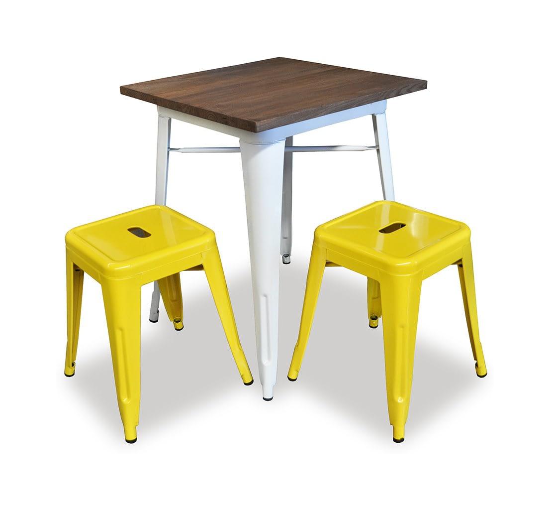 Replica Tolix Wooden Top Table, 70 x 70 x 75cm high, White Legs.
