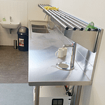 Stainless Pipe Wall Shelf, 600 X 450mm deep-2516