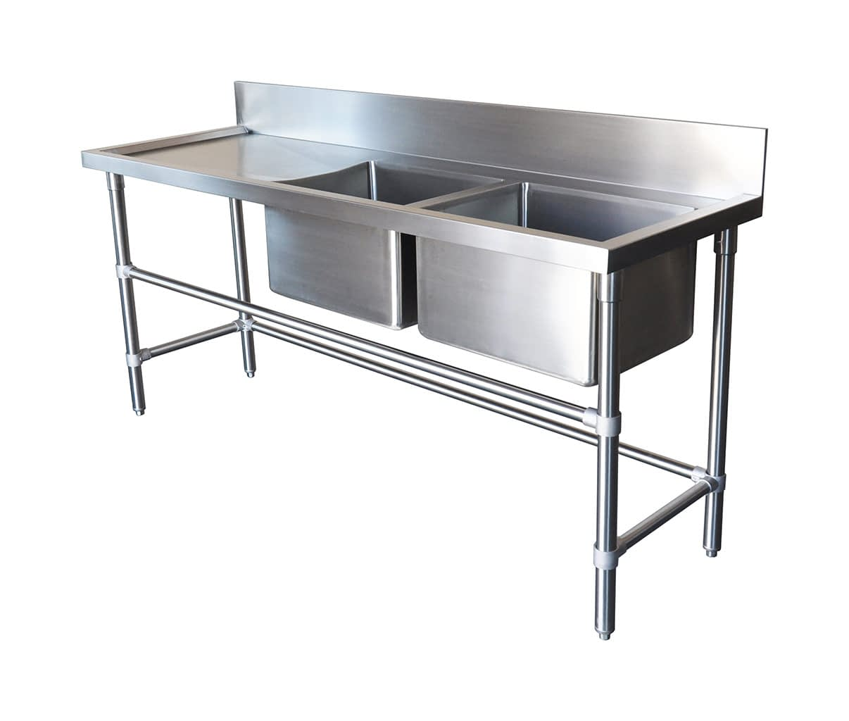 Double Bowl Stainless Commercial Sink – Left Bench, 1900 x 610 x 900mm high