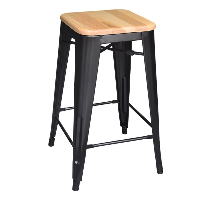 Replica Tolix Counter Stool with Ash Timber Seat, 66cm – black